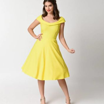 Vintage Style Yellow Stretch Cap Sleeve Swing Dress