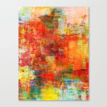 AUTUMN HARVEST - Fall Colorful Abstract Textural Painting Warm Red Orange Yellow Green Thanksgiving Canvas Print by EbiEmporium