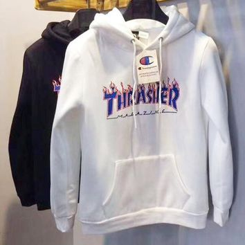 Thrasher X Champion Fashion Woman Men Leisure Flame Letter Print Hoodie Pullover Top Sweater White I