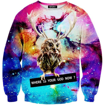 Galaxy Owl Crewneck