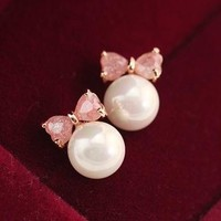 Pink Bow Rhinestone And Pearl Ball Earrings