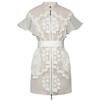 New Retro Runway Designer Dress Lady 2018 High Quality Stand Collar Butterfly Sleeve Lace Patchwork Organza Women Short Dress