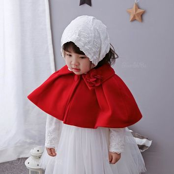 Red Baby Outerwear Cardigan Sweater Birthday Baby Girls Cape Clothes For 6/12/24 Month ABC175001