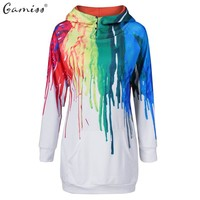 Gamiss Oil Painting 3D PRINT HOODIE Punk Women  Long Plus Size Sweatshirts Hoodies Casual Kangaroo Pocket Raglan Sleeve Coats