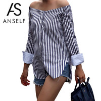 ANSELF Fashion Striped Print Women Off Shoulder Blouse Slash Neck Long Sleeve Shirt Women Tops Vintage Ladies Blouses Blusas