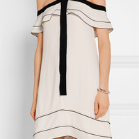 Proenza Schouler - Off-the-shoulder pussy-bow crepe mini dress