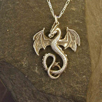 Sterling Silver Large Celtic Dragon Pendant [PCSJ] - $115.00 : Gorey Details, - Edward Gorey, Tim Burton, Alice, Poe, gothic, horror, halloween, vampire, bats, skull, zombie, dragon, fairy, victorian
