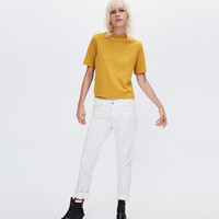 SOFT TOUCH T-SHIRT WITH FUNNEL COLLAR DETAILS