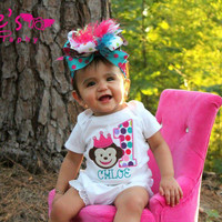My First Birthday Personalized Princess Monkey Bodysuit-Girls First Birthday Set-Cake Smash-Girls First Birthday