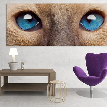 Cat Eyes Wall Art Canvas Print - Animal Kitty Eye Large Printing Painting Room Interior Decor - Cute Cats Lover Printable Artwork Gift