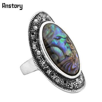 Rhinestone Oval Shell Rings For Women Vintage Antique Silver Plated Big Size Fashion Jewelry Tr432