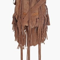 Boutique Mia Suede Concho Buckle Fringed Bag