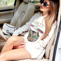 shosouvenir GUCCI Sequins cat embroidered sleeves  long sleeved sweater  loose fitting hooded sweater