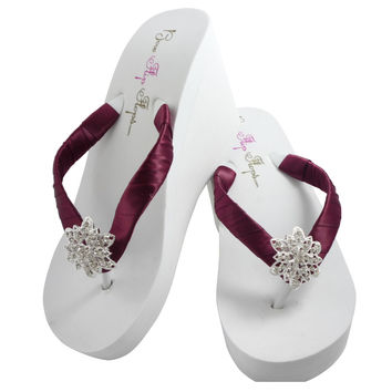 Wine Red Satin & Rhinestone Vintage Flower Wedding Flip Flops with Platform Heel
