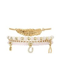 Lt Pink Bead & Rhinestone Charm Bracelets - 4 Pack by Charlotte Russe