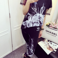 Adidas Smoke Print Short sleeves Leggings Leisure Movement Two pieces
