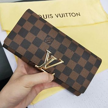 LV Louis Vuitton Popular Women Retro Leather Buckle Wallet Purse Tartan