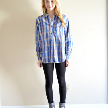 Vintage Northern Reflections Flannel Blue Cozy Plaids and Checks Long Sleeve Button Down Medium Med M Blue Colorful Flannel Shirt Hipster