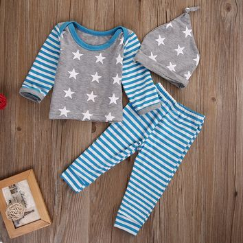 Newborn Baby Boy Girls Striped Long Sleeve Tops Star Print T-shirt Pants Leggings Hat Outfit Clothes Set