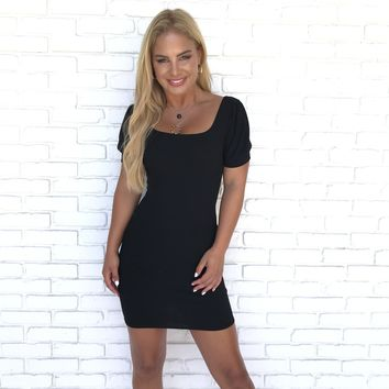 All About Us Black Bodycon Dress