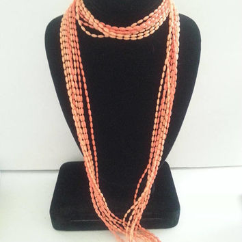 Now On Sale Vintage Long Necklace Flapper Jewelry Retro Mid Century 50s 1960s Mad Men Orange Lucite 8 Strand Retro Rockabilly Collectible Ac