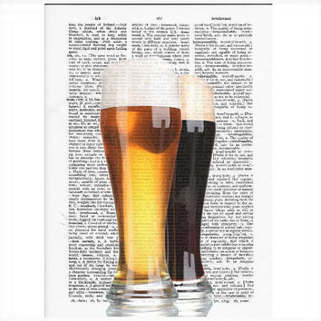 Vintage Dictionary Paper BEER Art Print