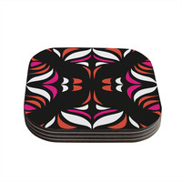 "Miranda Mol ""Magenta Orange Hawaiian Retro"" Coasters (Set of 4)"