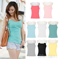 New Women's Cotton Lace Hollow-Out Crochet Tank Tops Cami Shirt Sleeveless Solid  01D7