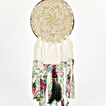 Bohemian dream catcher, crochet doily, beaded, wall hanging, large, floral, unique crochet dreamcatcher, lace, bohemian bedroom
