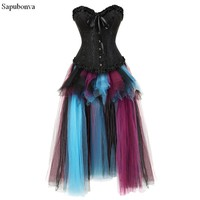 Sapubonva Sexy Steampunk Skirt Corsets and Bustiers Top Lace Evening Women Plus Size Push Up Gothic Corset Dress Long Halloween
