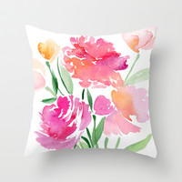 Watercolor Floral Bouquet Throw Pillow by Yao Cheng Design