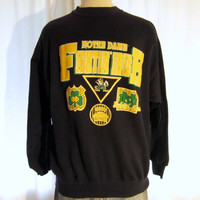 Vintage Super Soft 80s NOTRE DAME IRISH College University Football Unisex Medium Large Graphic 50/50 Crewneck Sweatshirt