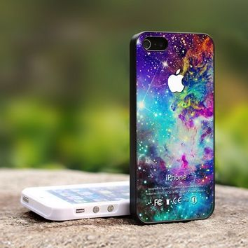 Colorful Galaxy Nebula Apple Logo - For iPhone 4,4S Black Case Cover