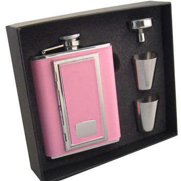 Visol SP Pink Leather 6oz Flask Gift Set