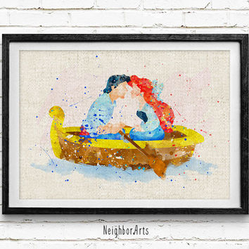 Little Mermaid Ariel & Prince Eric Watercolor Print, Disney Nursery Room Art, Minimalist Home Decor Not Framed, Buy 2 Get 1 Free!