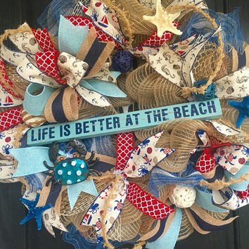 Anchor mesh wreath,burlap nautical wreath, beach wreath,front door beach wreath,nautical wreath,beach life wreath,beach decor,nautical decor