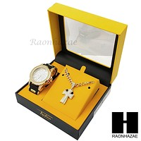 MEN ICED OUT TECHNO PAVE WATCH & CROSS PENDANT CUBAN CHAIN NECKLACE GIFT SET S72
