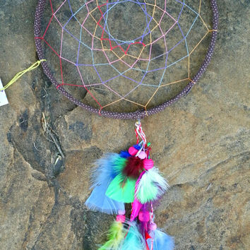 Dream Catcher, Handmade 9 Inch, Colorful Feathered Wall Hanging Art, Bedroom Wall Art Decor