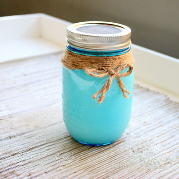 Fall Festival Homemade Soy Candle In A Blue Pint Mason Jar (16oz) / Soy Candles/ Fall Festival Candle / Home Decor / Natural Candles
