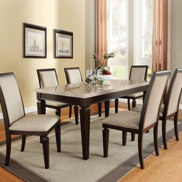 Acme 70480 7 pc agatha white marble top espresso finish wood dining table set