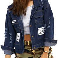 Dark Color Icons Embellished Ripped Jacket