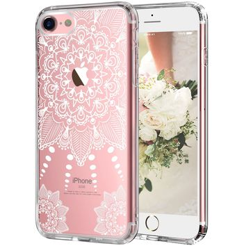 iPhone 7 Case, iPhone 8 Case,LUHOURI White Henna Mandala Floral Case, Transparent Plastic with Clear TPU Bumper Protective Back Phone Case Cover for iPhone 7/iPhone 8 (4.7 Inch)