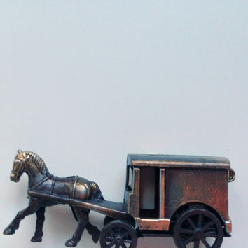 Vintage Die Cast Metal Stagecoach Pencil Sharpener 1970s NIB