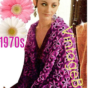 Digital Pattern - Vintage Shawl Crochet Pattern VintageBeso PDF Pattern - 1970s Ladies Crochet Pattern Motifs in the style of granny square