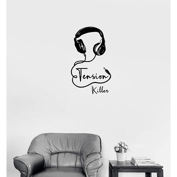 Wall Decal Tension Killer Headphones Music Inscription Words Vinyl Sticker (ed1153)