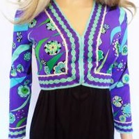 Vtg 1960's EMILIO PUCCI MoD PsYcHeDeLiC Op ArT OpTiC Silk Couture Dress XS