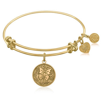 Expandable Bangle in Yellow Tone Brass with Butterfly Transformation Symbol