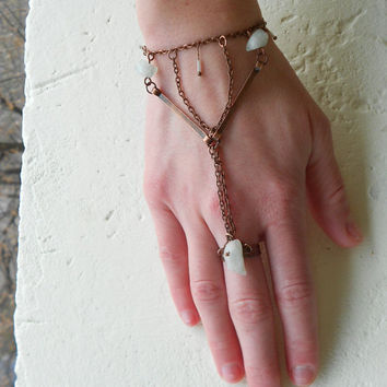 Ring-Bracelet with Fluorite Stones+Copper+Chains+Glass! ~Moonbeams~ Elvish Neoteric Pure feel Ring-Bracelet in milky light Mint Green+Copper