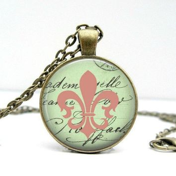 Fleur De Lis Necklace : Green & Pink. Pendant. Charms. Art. Bronze Jewelry. (1441)