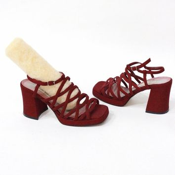 Maroon Caged Block Heels / Size 7 and a half
